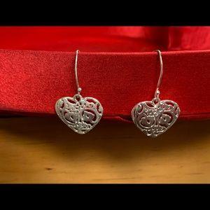 Jewelry - Sterling Silver small filigree heart earrings